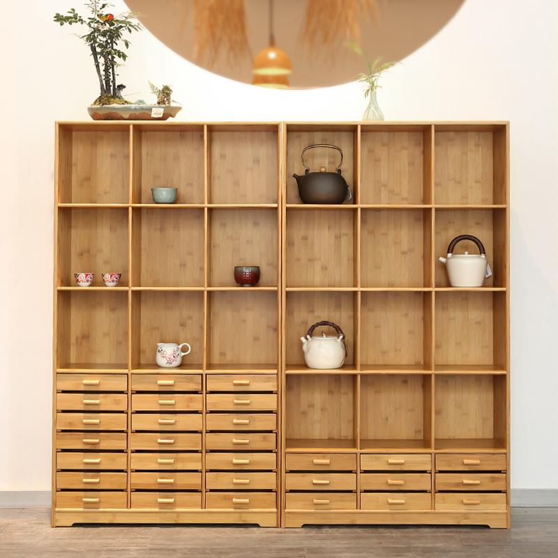 小竹排 实木竹制中式简约多宝阁茶具收纳柜储物柜普洱茶饼柜茶柜