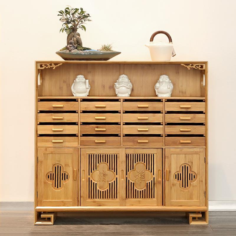 小竹排玄关隔断 竹制中式多宝阁茶具收纳柜储物柜普洱茶饼柜茶柜