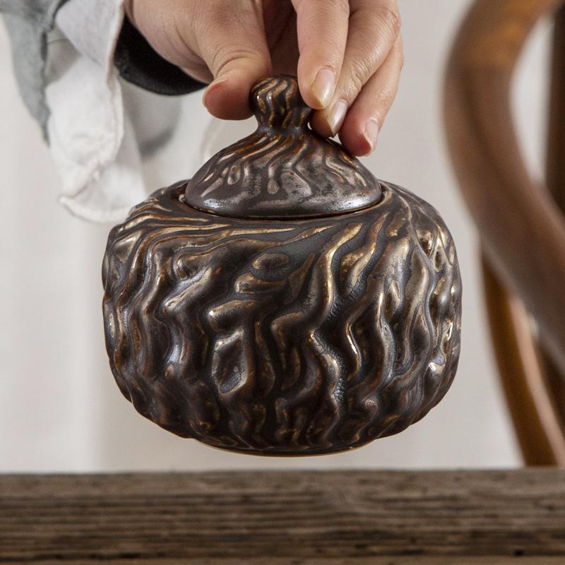仿铁皮茶叶罐德化陶瓷密封罐创意礼品干果工艺品糖果茶罐通用定制