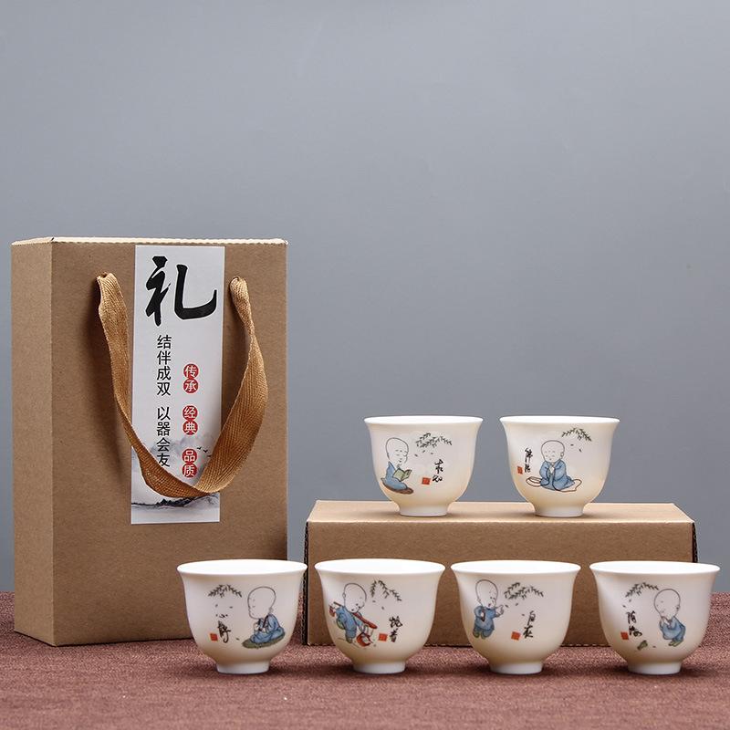 德化小和尚茶杯陶瓷功夫茶具套装特价旅行茶具公司活动定制logo