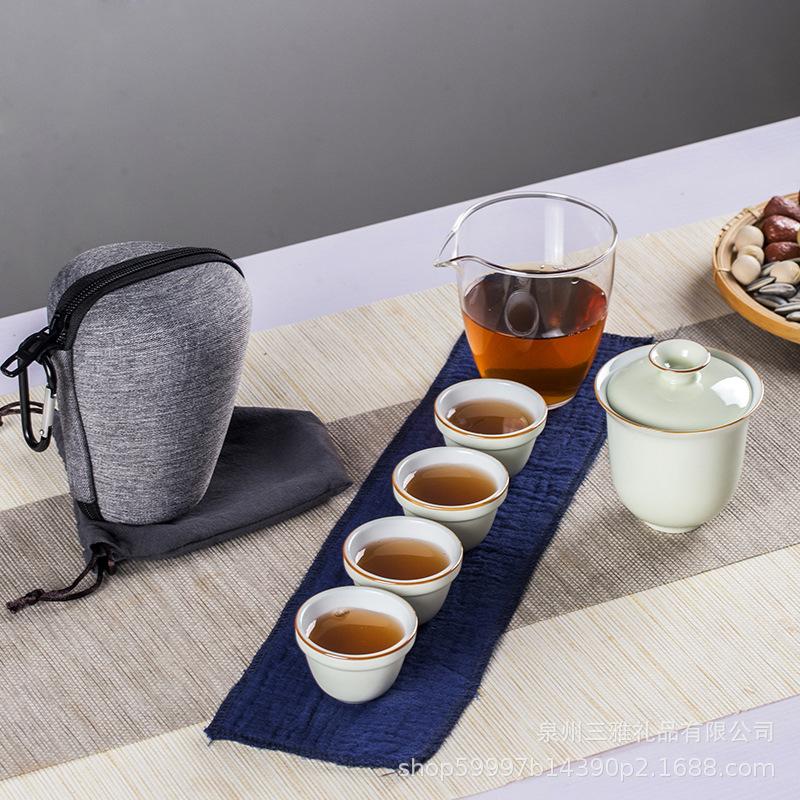 德化旅行茶具套装便携包功夫陶瓷日式批发高档创意整套快客杯迷你